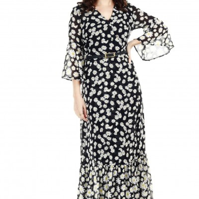 Printed maxi dress with frilled hem Profile Picture